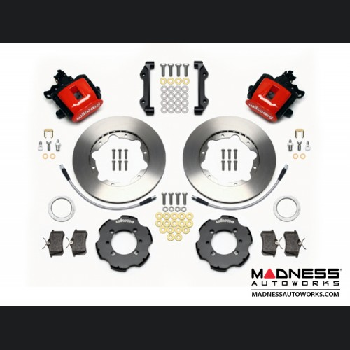 FIAT 500 Brake Conversion Kit - Wilwood Rear Brake Upgrade Kit (Red Powder Coated Calipers / Plain Face Rotors)