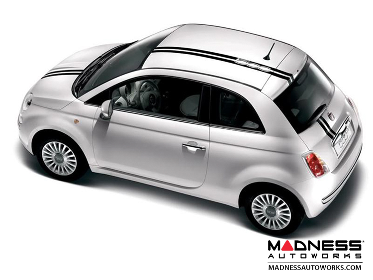 fiat 500 graphics 500 logo stripes white fiat 500 parts and accessories. Black Bedroom Furniture Sets. Home Design Ideas