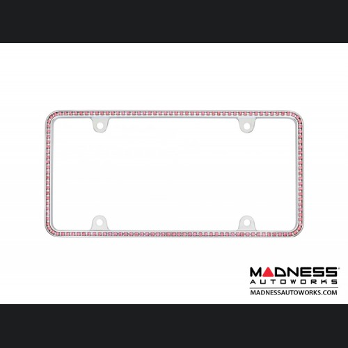 License Plate Frame - Chrome w/ Pink Crystals
