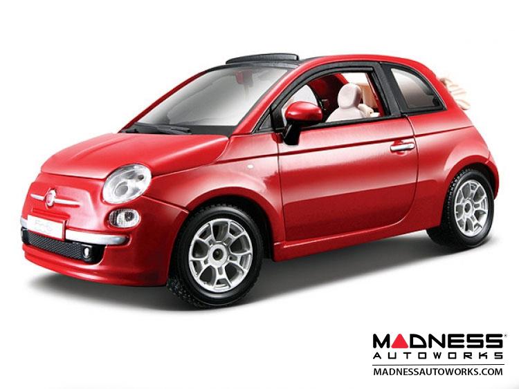 Fiat 500 Cabrio Die Cast Model 1 24 Scale Red By Bburago