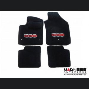 FIAT 500 Floor Mats - Premium Carpet - MADNESS - Front + Rear Set - w/ Large MADNESS Logo