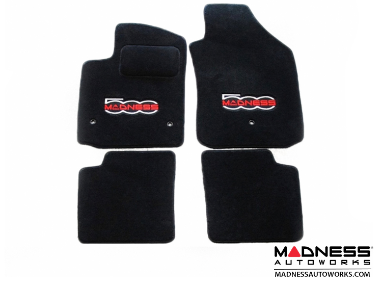 FIAT 500 Floor Mats - Premium Carpet - MADNESS - Front + Rear Set - w/ Large MADNESS Logo