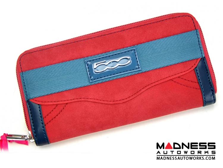 FIAT 500 Italian Ladies Wallet - Red Alcantara w/ Blue Details