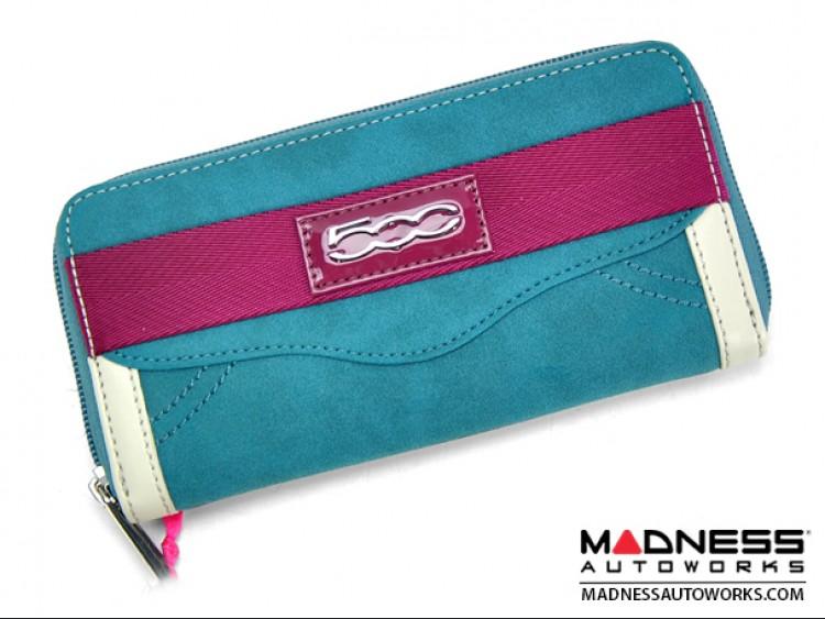 FIAT 500 Italian Ladies Wallet - Seafoam Blue Alcantara w/ Magenta Details