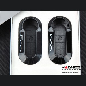 FIAT 500 Key Cover Set (2) - Dark Gray + Black w/ 500 Logo