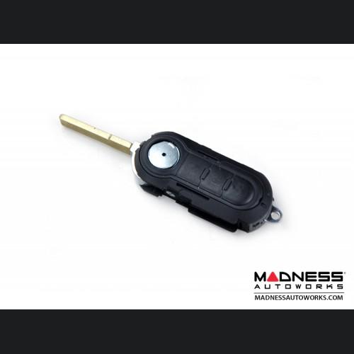 FIAT 500 Key Fob Housing and Uncut Key - fits 500 and 500L