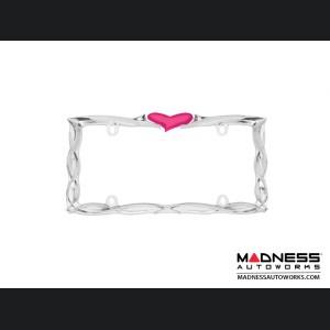 License Plate Frame (1) - Gloss Black Frame w/ Pink Heart