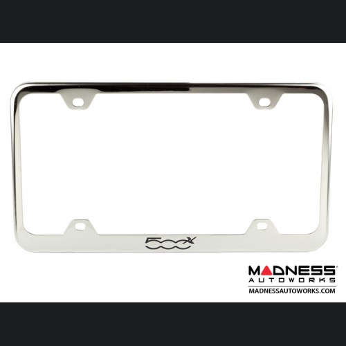 FIAT 500X License Plate Frame (Wideplate) - Stainless Steel w/ 500X Logo