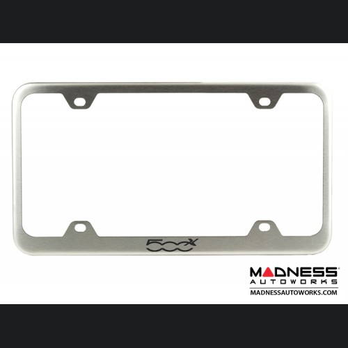FIAT 500X License Plate Frame (Wideplate) - Brushed Stainless Steel w/ 500X Logo