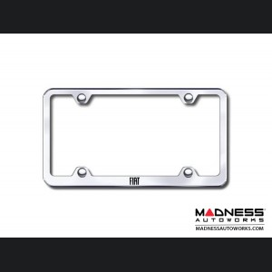 License Plate Frame - Wideplate - Satin Stainless Steel w/ FIAT Logo