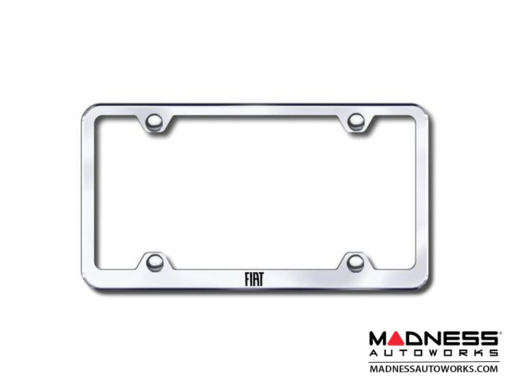 FIAT 500 License Plate Frame (Wideplate) - Polished Stainless Steel w/ FIAT Logo