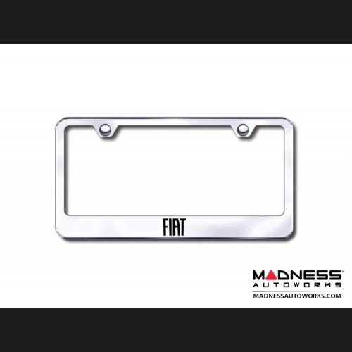 License Plate Frame (Standard) - Satin Stainless Steel w/ FIAT Logo