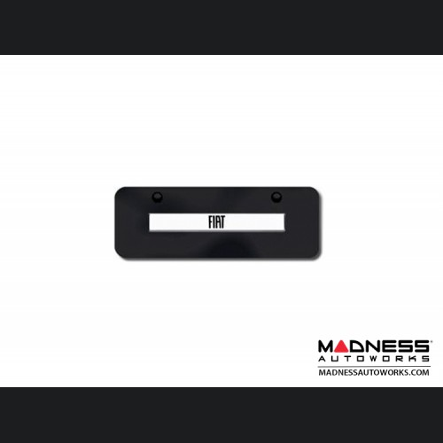 License Plate - Mini - Black Steel Plate w/ FIAT Logo