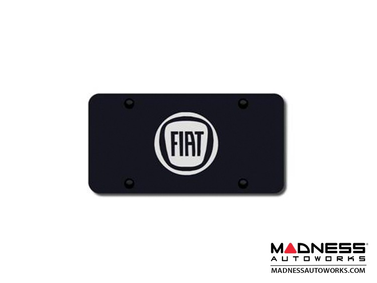 License Plate - Black Finish Stainless Steel Plate w/ a Round Silver FIAT Logo