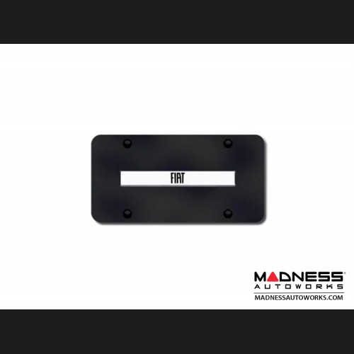 License Plate - Black Steel Plate with FIAT Logo