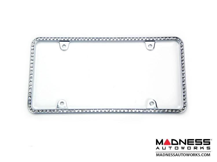 License Plate Frame - Chrome Frame w/ White Crystals