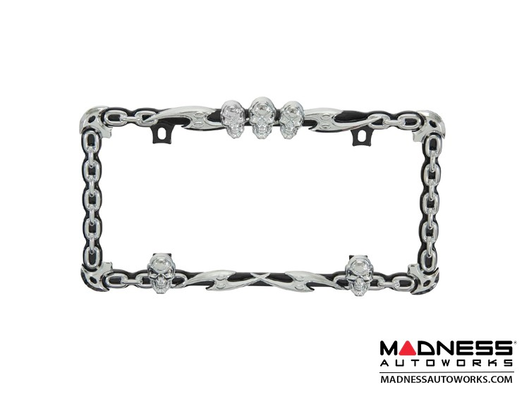 License Plate Frame - Skull and Chain