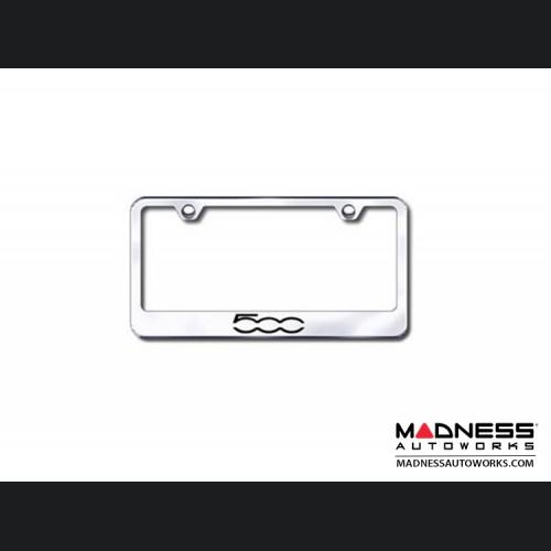 FIAT 500 License Plate Frame (Standard) - Satin Stainless Steel w/ 500 Logo