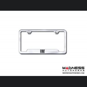 License Plate Frame - w/ Cut Outs for Tags - Satin Stainless Steel w/ FIAT Logo