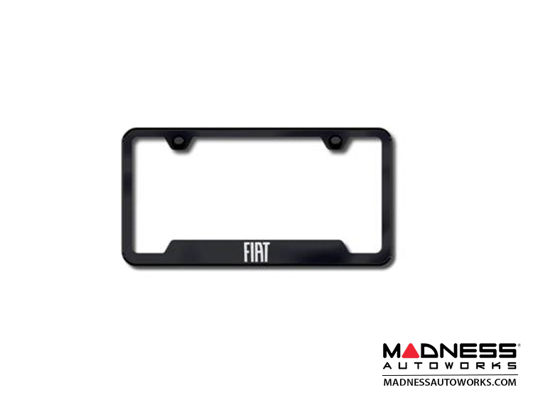 License Plate Frame - w/Cut Outs for Tags - Black w/ FIAT Logo