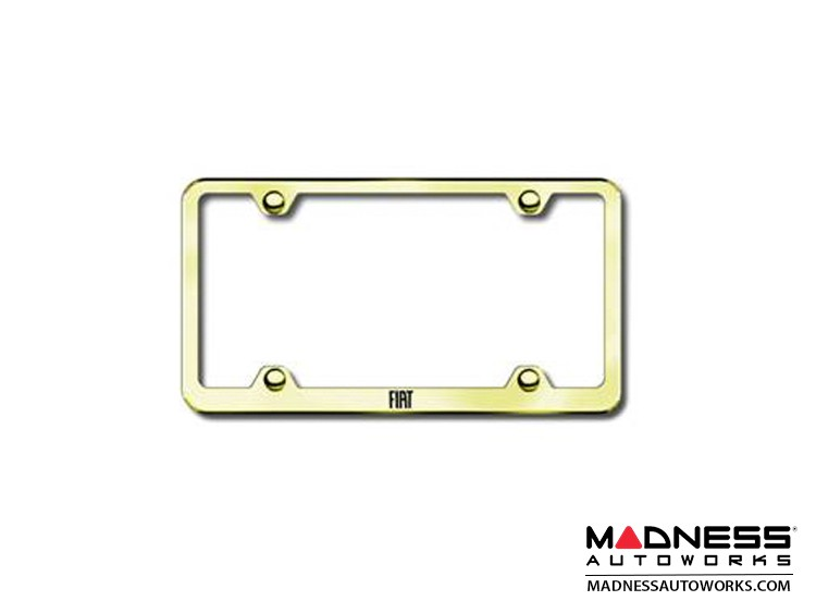 License Plate Frame - Wideplate - Gold Finish w/ FIAT Logo