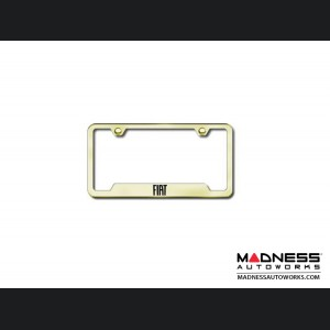 FIAT 500 License Plate Frame (w/ Cut Outs for Tags) - Polished Stainless Steel w/ FIAT Logo