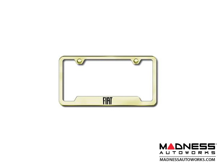 License Plate Frame - w/ Cut Outs for Tags - Gold Finish w/ FIAT Logo