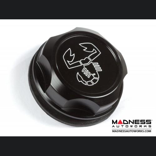 FIAT 500 Oil Cap - Black Anodized Billet w/ Scorpion Logo