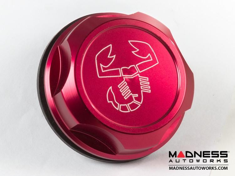 FIAT 500 Oil Cap - Red Anodized Billet w/ Scorpion Logo