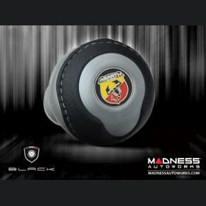 FIAT 500 Gear Shift Knob by BLACK - Silver Base/ Black Leather Top + ABARTH Logo - V2