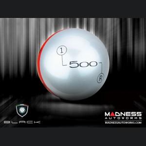 FIAT 500 Gear Shift Knob by BLACK - Silver Top w/ Red Base