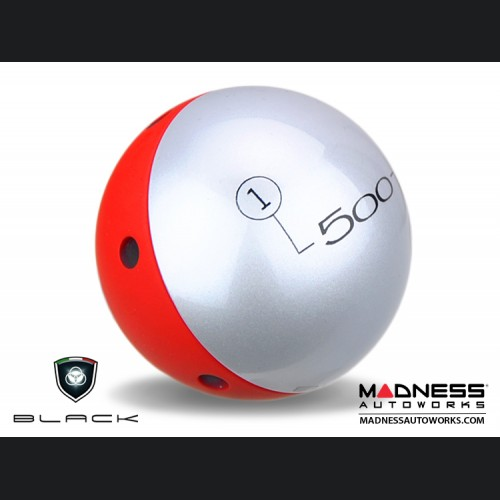 FIAT 500 Gear Shift Knob by BLACK - Silver Top w/ Red Base