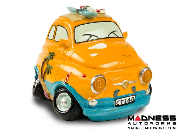 Classic Fiat 500 Piggy Bank - Beach Cruiser - Yellow/ Blue