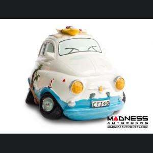 Classic Fiat 500 Piggy Bank - Beach Cruiser - White/ Blue